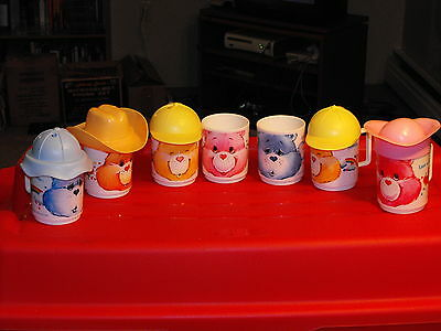 Vintage Canadian Lot of 7 Care Bears Plastic Mugs Cups (Some include Hats)