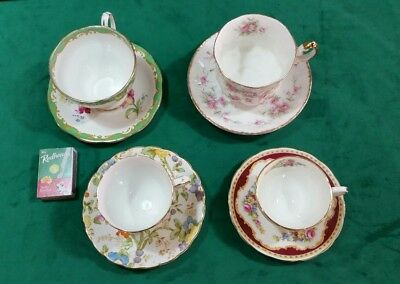 English bone china cup and saucers x 4 of