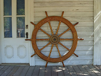 LARGE Antique 19th 20th Century Sailing Ship Wheel Riverboat Schooner 60 Inch