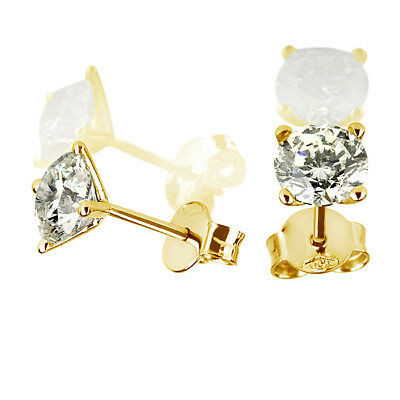 0.9 Carat Natural Solitaire Round Diamond 14K Yellow Gold Stud Post Earrings Nib