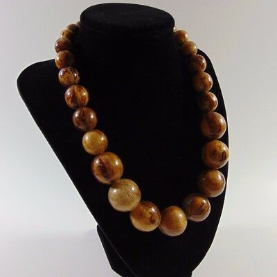 Nice Hawaiian Jewelry Large Graduated Koa Wood Bead Necklace 16""