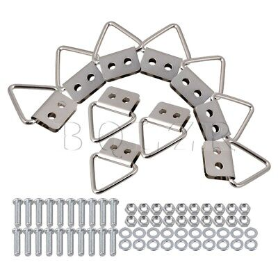 Iron Triangle Ring Picture Hooks Hanger Double Hole Set of 10 Silver