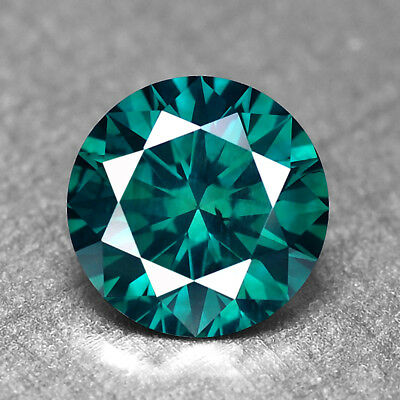 Blue Green Diamond Round 1.03 cts Loose Diamond Fancy Natural F729