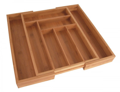 Expandable Utensils Drawer Organizer Bamboo Storage Hold Tray Silverware Cutlery