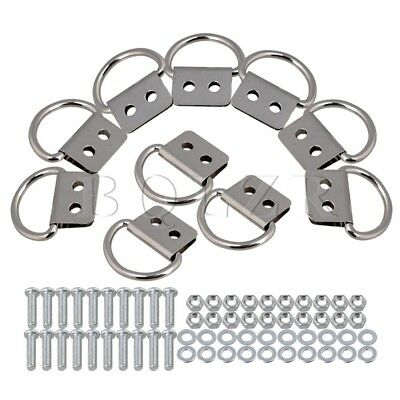 Iron D Ring Picture Hooks Hanger Double Hole Set of 10 Silver