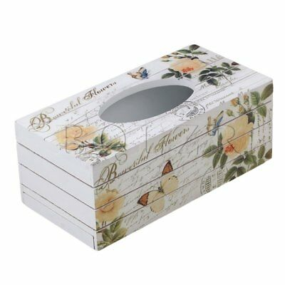 24x11.8x9.3cm Wooden Tissue Box Yellow Rose Tabletop Napkin Holder