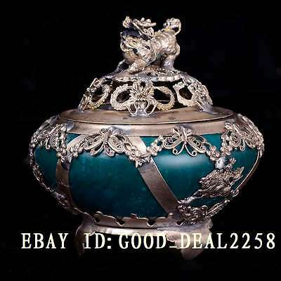 Old China Handwork Carved Old Green Jade Armoured Dragon & Butterfly & Kylin Lid
