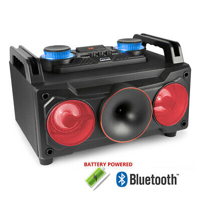 Battery Powered Portable Stereo Ghetto Speaker with Bluetooth USB & RGB Lights