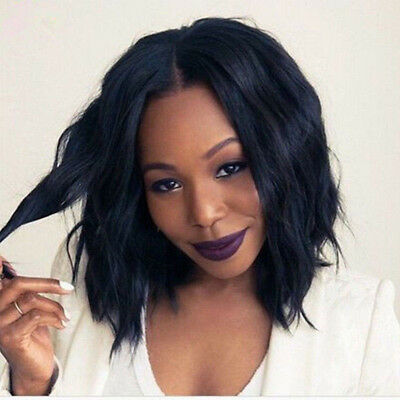 Lace Front Wig Loose Body Wavy Curly Natural Black Women&Synthetic Hair Long Bob