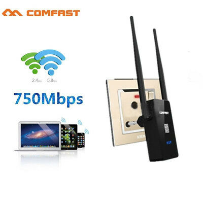COMFAST 750Mbps Wireless Dual Band 2.4/5G & Repeater Router WiFi AP Range 4 Plug