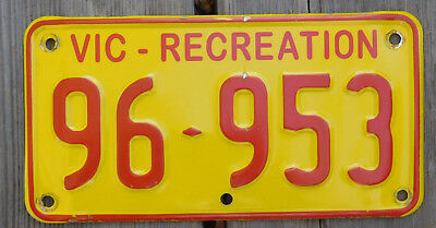 License Plate Number Plate VIC   Recreational M'cycle and car  96 953