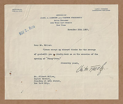 """Vinton Freedley (Signed) Correspondence """"FUNNY FACE"""" to Gilbert Miller 1927"""