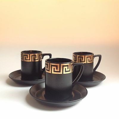 Portmeirion Black & Gold Greek Key Coffee Cups and Saucers X 3