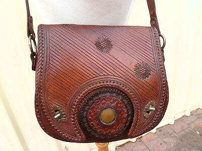 Genuine~Vintage~Whiskey~Brown~c1970s~RETRO~Tooled~Leather~Hand~Bag