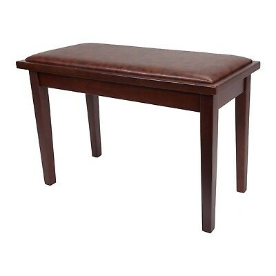 NEW Crown Deluxe Timber Trim Duet Piano Stool Bench Storage Compartment (Walnut)