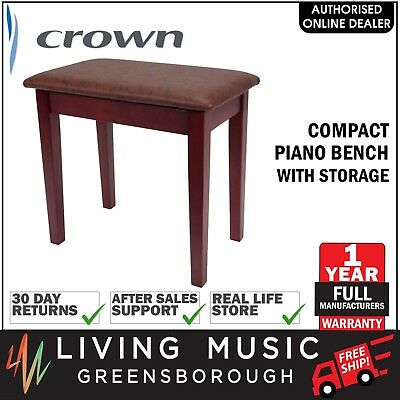 NEW Crown Compact Keyboard Piano Stool Bench Storage Compartment (Mahogany)