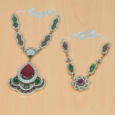 2Pcwholesale 925 Solid Sterling Silver& Brass Green Emerald Turkish Necklace Lot
