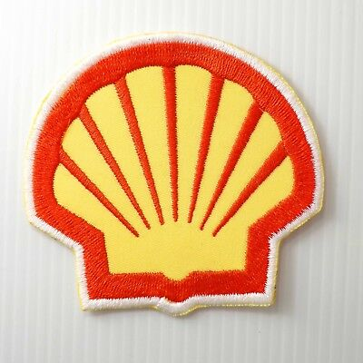 "3.00""x1p. shell racing oils auto lube fuel gas embroidered iron on sew patch"
