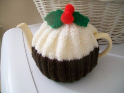 Hand Knitted Christmas Pudding Tea Cosy For A Medium Teapot 3-4 Cup Size