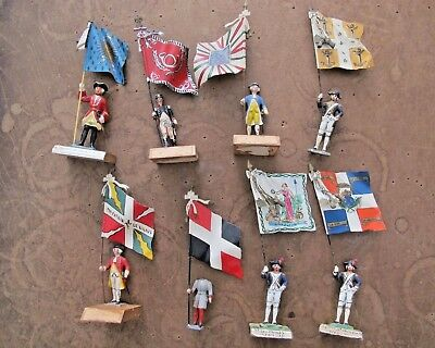 Amazing Lot of 8 Antique Mignot French flag bearing lead Napoleonic toy soldiers