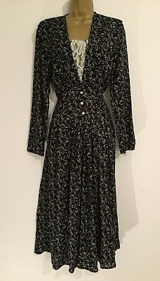 Woolworths Size 10 Beautiful Vintage Tea Dress with Lace Detail (1280)