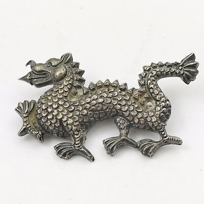 Antique Solid Silver Chinese Dragon China Early Retro Pin Brooch