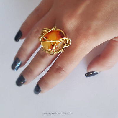 UNIQUE HANDMADE Hellenistic Ancient Greek Museum Inspired Ring Gold  Agate Stone