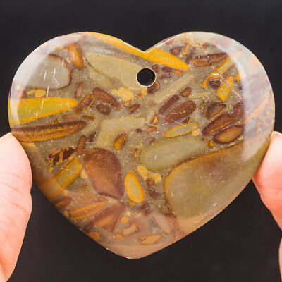 54x45x7x6mm Natural Bamboo Leaves Stone Heart Pendant Bead 71020091
