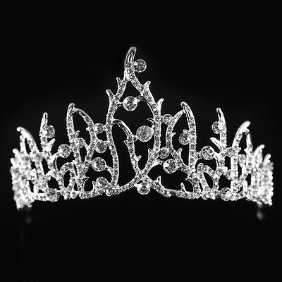 Wedding Bridal Princess Austrian Rhinestone Prom Hair Tiara Crown Veil Headband
