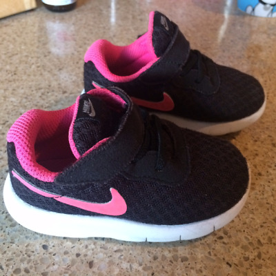 Toddler girls Nike trainers, UK infant 4.5, black and pink