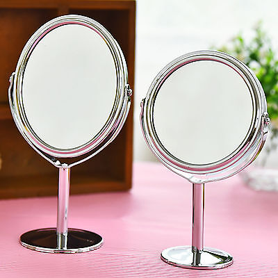 Double Sided Round Table Top Magnifying  Mirror Cosmetic Makeup Shaving SwivelsT