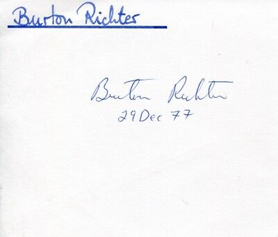 Burton Richter autograph, Nobel Prize in Physics 1976, singed card