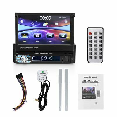 """Universal 1DIN 7"""" HD Flip Out GPS Navigation Car Stereo MP3 AUX Player Bluetooth"""