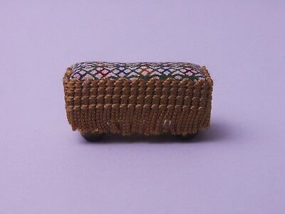 Dolls House 1/12 Hand Made Fringed Footstool with Bun Feet and Silk Cover