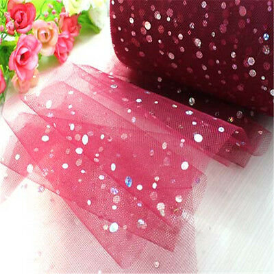 Wind Red 5ydTulle Fabric Sequin Tutu Trim Skirt Sewing DIY  Wedding Decoration