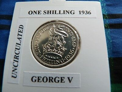 UNCIRCULATED? 1936 SHILLING  (Silver .500)  George V