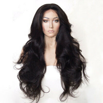 """24"""" Long Wavy Lace Front Wig Natural Black Heat Resistant & Synthetic Hair"""