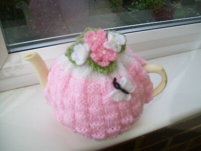 Hand Knitted  Basket Weave Tea Cosy For A Medium Teapot 3-4 Cup Size