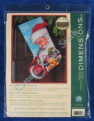 Christmas Needlepoint Kit Santa and Toys Stocking Traditional Dimensions