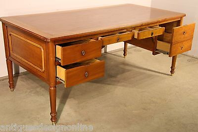 BIG Iipressive antique French Louis DESK leather inlay cherrywood writing table