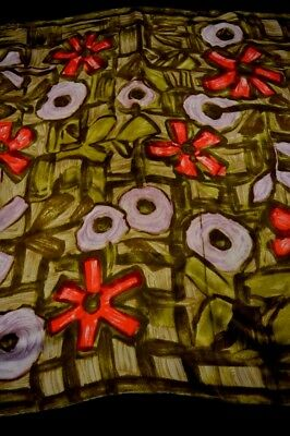 """Vintage Large Pretty Bold Abstract Flower Hand Rolled Silk Scarf - 30"""" x 30""""."""