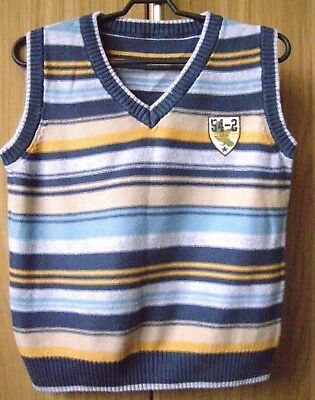 Boys 2 Knitted Vest sleeveless Jumper Sweater Waistcoat Top V Neck age 2 3 years