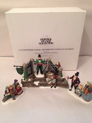 "DEPT 56 DICKENS VILLAGE ""A CHRISTMAS CAROL READING"" Set of 4 #58403"