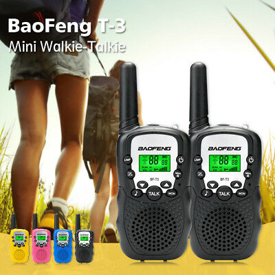 1 Pair Baofeng T-3 Walkie Talkie 1.9 Miles & CTCSS VOX Flashlight 22CH FRS GMRS