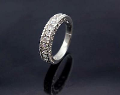 Solid 925 Sterling Silver CZ Engagement Eternity Wedding Ring + Free Gift Pouch