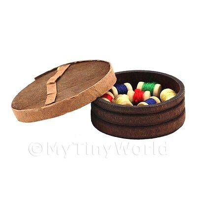 Dolls House Wooden Pot And Lid With 10 Assorted Cotton Reels
