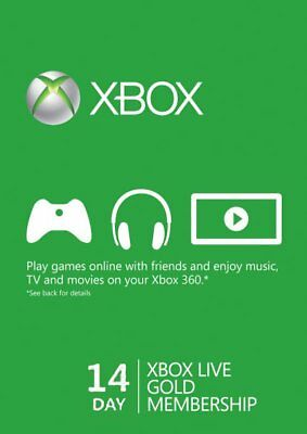 14 Day Xbox Live Gold Trial Membership Code (2 Weeks)- Read Description