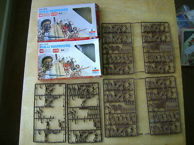 ESCI 1 Complete Set & 1 Part Set of Zulu Warriors.Scale 1:72. On Sprues.Colonial