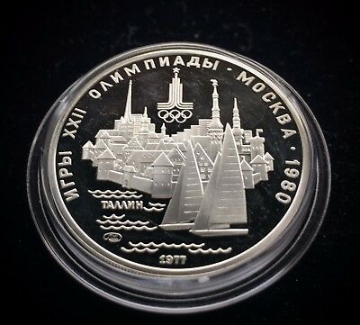 USSR Russia 5 Roubles 1977 (L) MOSCOW OLYMPICS 1980 City of TALLINN Silver Proof