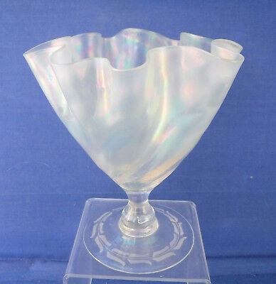 James Powell  Whitefriars Opalescent Frilled Glass Vase, Perfect